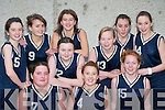 CHRISTMAS BLITZ: The Skellig Bay, Caherciveen team that played in the St Mary's Annual Christmas Basketball blitz in St John's Hall, Castleisland on Saturday. Front l-r: Rhona Browne, Orla O'Donovan and Aisling O'Sullivan. Back l-r: Bridget Dennehy, Niamh O'Donoghue, Rachel O'Connell, Amy Fitzgerald, Josephine McGillicuddy, Niamh Coffey and Megan O'Sullivan.   Copyright Kerry's Eye 2008