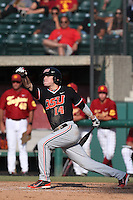 Caleb Hamilton #14 of the Oregon State Beavers bats against the Southern California Trojans at Dedeaux Field on May 23, 2014 in Los Angeles, California. Southern California defeated Oregon State, 4-2. (Larry Goren/Four Seam Images)