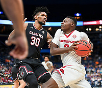 NWA Democrat-Gazette/CHARLIE KAIJO Arkansas Razorbacks forward Adrio Bailey (2) drives up to the net as South Carolina Gamecocks forward Chris Silva (30) covers during the Southeastern Conference Men's Basketball Tournament, Thursday, March 8, 2018 at Scottrade Center in St. Louis, Mo.