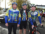 Paddy Dyas, Colum Keenan and Lenny McManus who took part in the Louth Costal Cycle Tour hosted by Drogheda Wheelers with all proceeds going to Donore National School. Photo:Colin Bell/pressphotos.ie