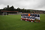 The home players lining up for their annual team photo at Millburn Park, Alexandria, before Vale of Leven hosted Ashfield in a West of Scotland League Central District Second Division Junior fixture. Vale of Leven were one of the founder members of the Scottish League in 1890 and remained part of the SFA and League structure until 1929 when the original club folded, only to be resurrected as a member of the Scottish Junior Football Association after World War II. They lost the match to Ashfield by 4-3, having led 3-1 with 10 minutes remaining.