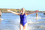 Sue McKinney during the St. Stephen's Day 2013 swim for Chernobyl on Clogherhead beach.<br /> Picture:  Thos Caffrey / www.newsfile.ie