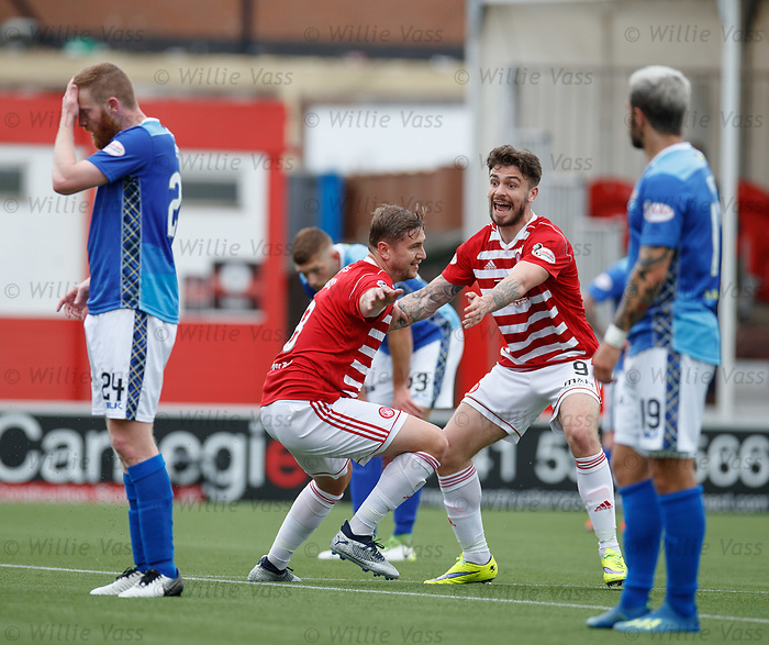 18.05.2019 Hamilton v St Johnstone: Steven Davies celebrates his goal with George Oakley