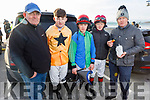 Neil Hurley, Brian Barry, Danny Gilligan (Galway), Sam and Warren Ewing getting ready and enjoying the Ballyheigue Races on New Years Day.