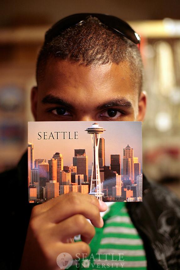 05202009-  Seattle University, Viewbook photo shoot, Pike Place Market, Seattle skyline, Kenny McCray, Allison Schimmel- Bristow, Jamie Richardson, Emmanuelle Escandar