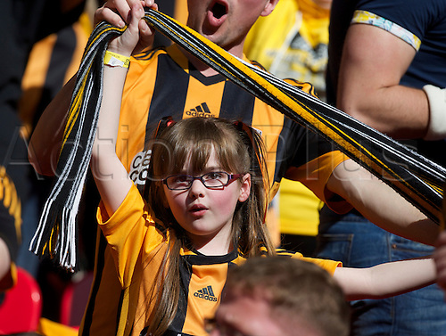 13.04.2014.  London, England.  A young Hull City fan before  the FA Cup Semi-Final between Hull City and Sheffield United from Wembley Stadium.
