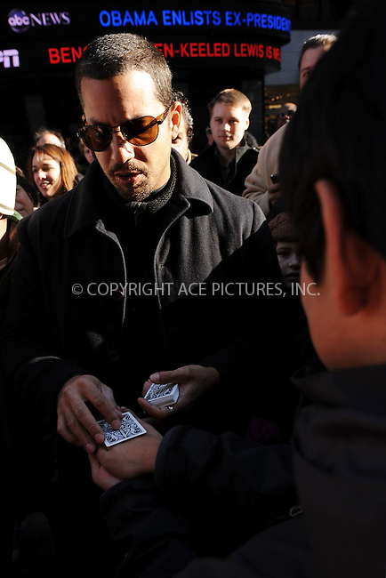 WWW.ACEPIXS.COM . . . . . ....January 16 2010, New York City....Magician and illusionist David Blaine raisesd money for the Haiti earthquake by performing a 72-hour Magic Marathon at Military Island, Times Square on January 16, 2010 in New York City.....Please byline: KRISTIN CALLAHAN - ACEPIXS.COM.. . . . . . ..Ace Pictures, Inc:  ..(212) 243-8787 or (646) 679 0430..e-mail: picturedesk@acepixs.com..web: http://www.acepixs.com