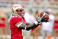 September 04, 2010:   Florida State Seminoles wide receiver Timothy Orange (11) warms up prior to the start of  first half action between the Florida State Seminoles and the Samford Bulldogs at Doak Campbell Stadium in Tallahassee, Florida.  Florida State defeated Samford 59-6.