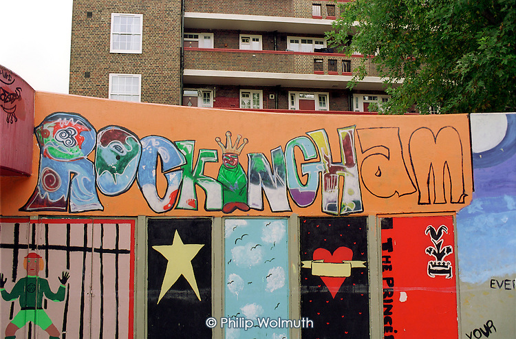 Mural and graffiti on Rockingham Estate, Elephant and Castle, London.