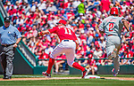 24 May 2015: Washington Nationals first baseman Ryan Zimmerman gets Ben Revere out at first during a game against the Philadelphia Phillies at Nationals Park in Washington, DC. The Nationals defeated the Phillies 4-1 to take the rubber game of their 3-game weekend series. Mandatory Credit: Ed Wolfstein Photo *** RAW (NEF) Image File Available ***