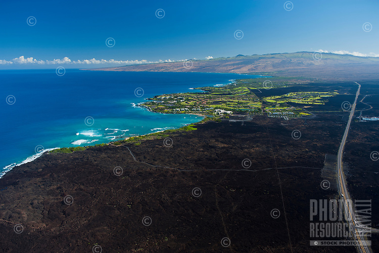 Aerial of Waikoloa Resort with lava landscape