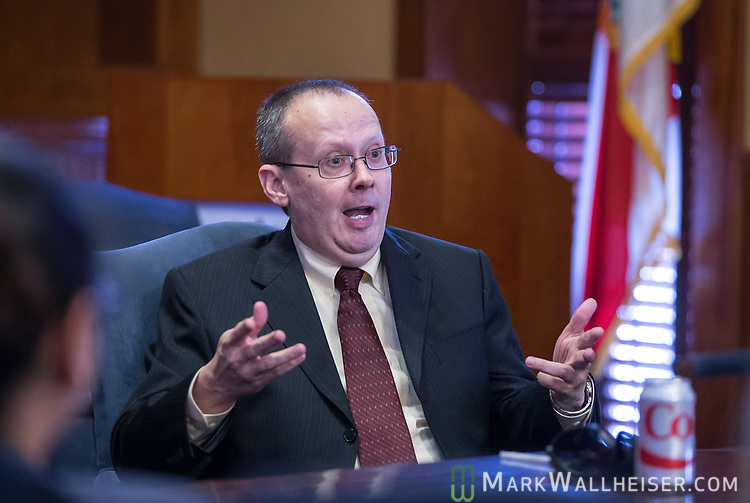 Craig Waters, Director of Public Information for the Florida Supreme Court speaks during a meeting of Leadership FPRA (Florida Public Relations Association) in Tallahassee, Florida.
