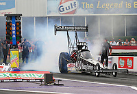Apr 24, 2015; Baytown, TX, USA; NHRA  top fuel driver Dave Connolly during qualifying for the Spring Nationals at Royal Purple Raceway. Mandatory Credit: Mark J. Rebilas-
