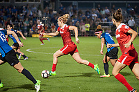 Kansas City, MO - Saturday May 27, 2017: Kristie Mewis, Desiree Scott during a regular season National Women's Soccer League (NWSL) match between FC Kansas City and the Washington Spirit at Children's Mercy Victory Field.