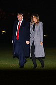 United States President Donald J. Trump and first lady Melania Trump return to the White House in Washington, DC after a trip to London for the NATO summit on Wednesday, December 4, 2019.<br /> Credit: Erin Scott / Pool via CNP