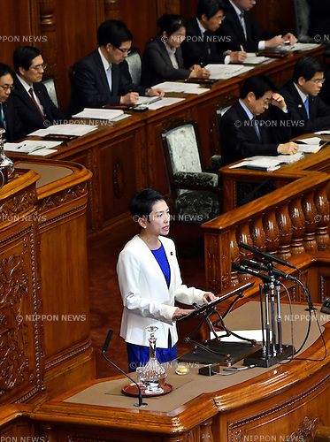 January 24, 2017, Tokyo, Japan - Renho (single name), leader of the opposition Democratic Party, throws a flood of questions to Prime Minister Shinzo Abe during a question-and-answer session in the Diet's upper chamber in Tokyo on Tuesday, January 24, 2017. The ordinary session of the Diet started for 150 days on Monday.  (Photo by Natsuki Sakai/AFLO) AYF -mis-