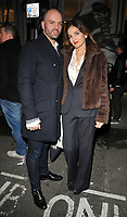 Justin Horne and Yasmin Mills at the JR: Giants - Body of Work private view &amp; gallery launch, Lazinc Gallery, Sackville Street, London, England, UK, on Wednesday 10 January 2018.<br /> CAP/CAN<br /> &copy;CAN/Capital Pictures