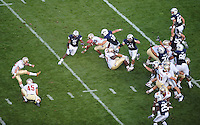 Sept. 19, 2009; Provo, UT, USA; Florida State Seminoles kicker (18) Dustin Hopkins kicks a field goal against the BYU Cougars at LaVell Edwards Stadium. Florida State defeated BYU 54-28. Mandatory Credit: Mark J. Rebilas-
