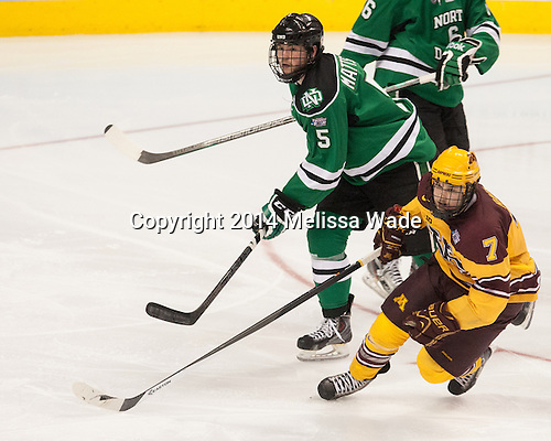 Nick Mattson (North Dakota - 5), Kyle Rau (MN - 7) - The University of Minnesota Golden Gophers defeated the University of North Dakota 2-1 on Thursday, April 10, 2014, at the Wells Fargo Center in Philadelphia to advance to the Frozen Four final.