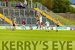 Kerry's Mikey Boyle and Dermot Gath of Offaly having a mid air battle in the Joe McDonagh Cup relegation game in Tralee on Saturday.