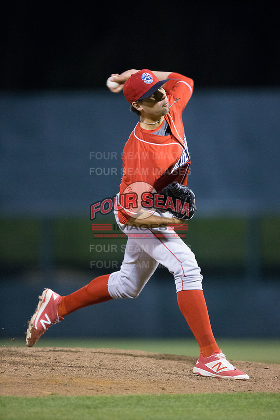 Lakewood BlueClaws relief pitcher Jonathan Hennigan (28) in action against the Kannapolis Intimidators at Kannapolis Intimidators Stadium on April 7, 2017 in Kannapolis, North Carolina.  The BlueClaws defeated the Intimidators 6-4.  (Brian Westerholt/Four Seam Images)
