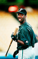Devon White of the Florida Marlins during a game at Dodger Stadium in Los Angeles, California during the 1997 season.(Larry Goren/Four Seam Images)
