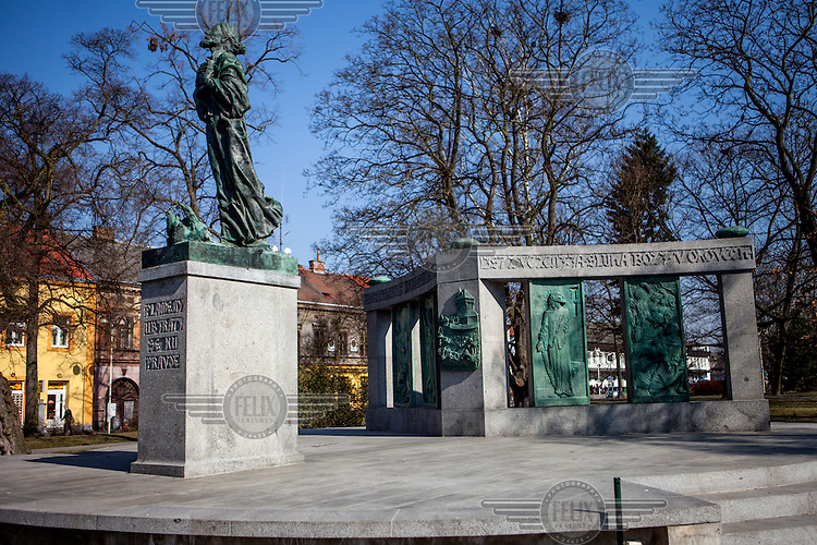 Jan Hus memorial located in the city of Tabor in South Bohemia. The town was founded in 1420 by followers of Jan Hus, a Bohemian reformer who was burned at the stake in 1415. Hus followers, led by Petr Hromadka of Jistebnice and Jan Bydlinsky of Bydlin, gave the town a bibilical name, after Mount Tabor in the Holy Land, and the settlement became the starting off point for successive Hussite Armies during the Hussite Wars that followed Hus' martyrdom. <br /> Jan Hus (or John Huss, 1369 - 1415) was a Czech priest, philosopher and one of the first church reformers. Hus attacked moral failings among the clergy and promoted some of the teachings of John Wycliffe (1331 - 1384), an English reformere who had been burned at the stake in 1384. Hus was excommunicated for his views in 1410 and burned at the stake as a heretic in Konstanz on 6 July 1415.