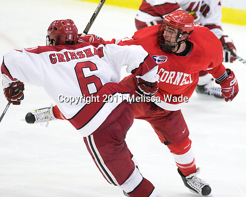 Ryan Grimshaw (Harvard - 6), Tyler Roeszler (Cornell - 9) - The visiting Cornell University Big Red defeated the Harvard University Crimson 2-1 on Saturday, January 29, 2011, at Bright Hockey Center in Cambridge, Massachusetts.