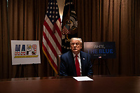 United States President Donald J. Trump speaks during a meeting with members of the National Association of Police Organizations Leadership in the Cabinet Room of the White House in Washington, DC, on July 31st, 2020.<br /> Credit: Anna Moneymaker / Pool via CNP /MediaPunch