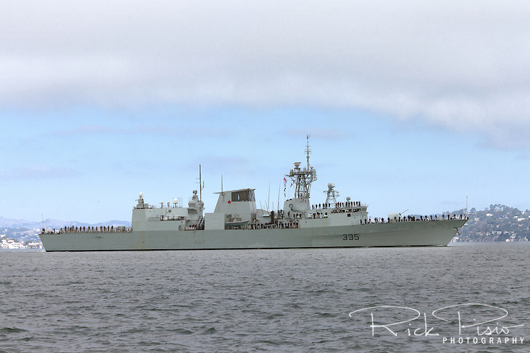 Halifax-class frigate HMCS Calgary (FFH 335) on San Francisco Bay in October 2014. The Calgary was officially commissioned into the Canadian Forces on 12 May 1995.