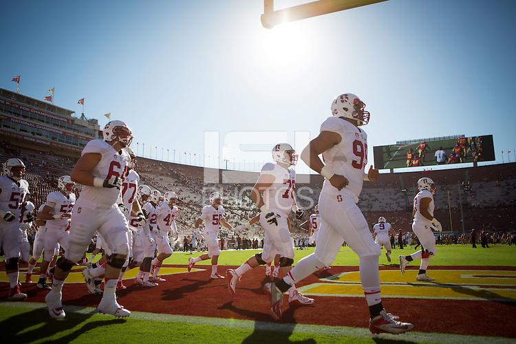 LOS ANGELES, CA -- September 19, 2015: Stanford defeats USC 41-31 at the LA Coliseum.