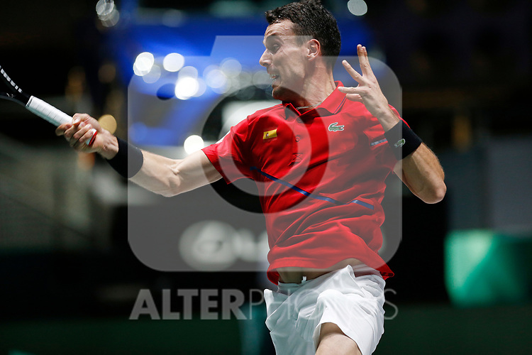 Roberto Bautista Agut of Spain {scene} against Roberto Bautista Agut of Spain during Day 2 of the 2019 Davis Cup at La Caja Magica on November 19, 2019 in Madrid, Spain. (ALTERPHOTOS/Manu R.B.)