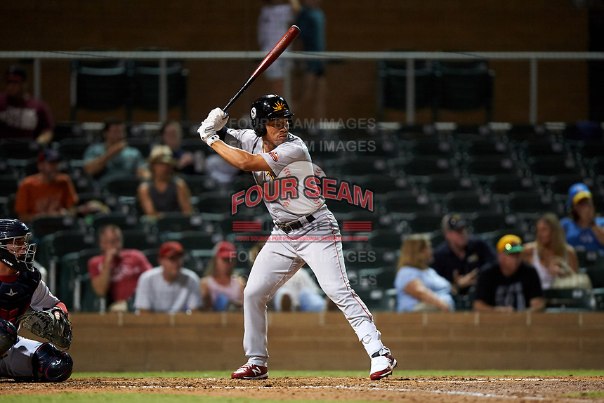 Mesa Solar Sox Jahmai Jones (7), of the Los Angeles Angels organization, at bat during an Arizona Fall League game against the Salt River Rafters on September 27, 2019 at Salt River Fields at Talking Stick in Scottsdale, Arizona. Salt River defeated Mesa 6-1. (Zachary Lucy/Four Seam Images)