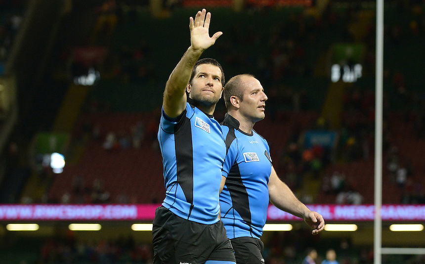 Uruguay's Francisco Bulanti and Uruguay's Alejo Corral wave and thank the travelling Uruguay fans <br /> <br /> Photographer Ian Cook/CameraSport<br /> <br /> Rugby Union - 2015 Rugby World Cup - Wales v Uruguay - Sunday 20th September 2015 - Millennium Stadium - Cardiff<br /> <br /> &copy; CameraSport - 43 Linden Ave. Countesthorpe. Leicester. England. LE8 5PG - Tel: +44 (0) 116 277 4147 - admin@camerasport.com - www.camerasport.com