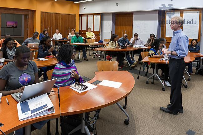 Jul. 2, 2014; Kellogg Institute professor Rev. Bob Dowd, C.S.C. leads a YALI classroom session.  Photo by Matt Cashore/University of Notre Dame
