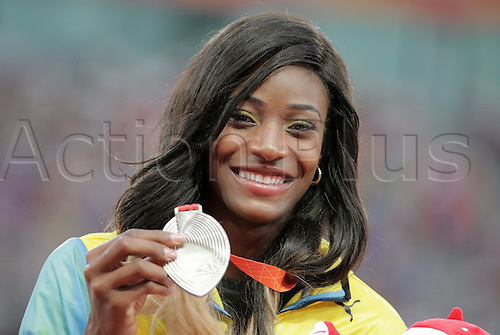 28.08.2015. Birds Nest Stadium, Beijing, China.  Shaunae Miller of Bahamas poses with her silver medal during the medal ceremony of the women's 400m final during the Beijing 2015 IAAF World Championships at the National Stadium, also known as Bird's Nest, in Beijing, China, 28 August 2015.