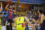 XXXVIII Lliga Nacional Catalana ACB 2017.<br /> FC Barcelona Lassa vs BC Morabanc Andorra: 89-70.<br /> Adam Hanga vs Colton Iverson.