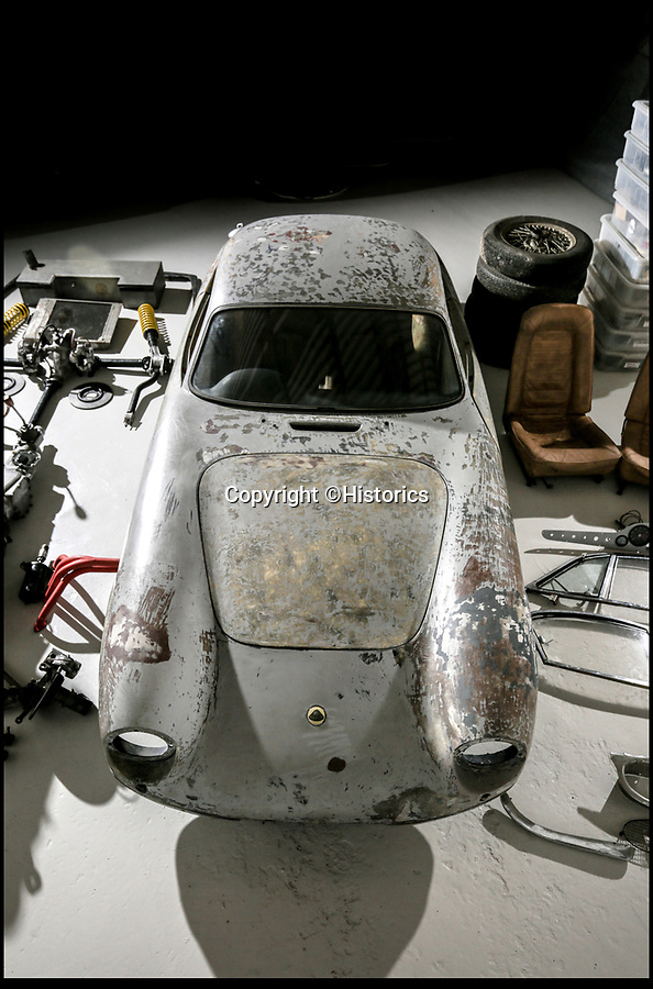 BNPS.co.uk (01202 558833)Pic:   Historics/BNPS<br /> <br /> A classic Le Mans racing car that belonged to an heroic Battle of Britain pilot has emerged for sale in bits for £55,000.<br /> <br /> The 1959 Lotus Elite was owned from new by Flight Lieutenant James Richard Stoop, better known as Dickie.<br /> <br /> The heroic RAF flyer was a known motoring enthusiast and he entered his state-of-the-art vehicle into the 24-hour race just eleven days after purchasing it.