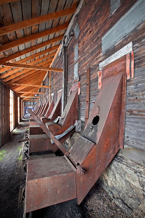 Historical coal mine chutes at the  Nordegg Coal Mine Historical Park, Nordegg, Alberta, Canada