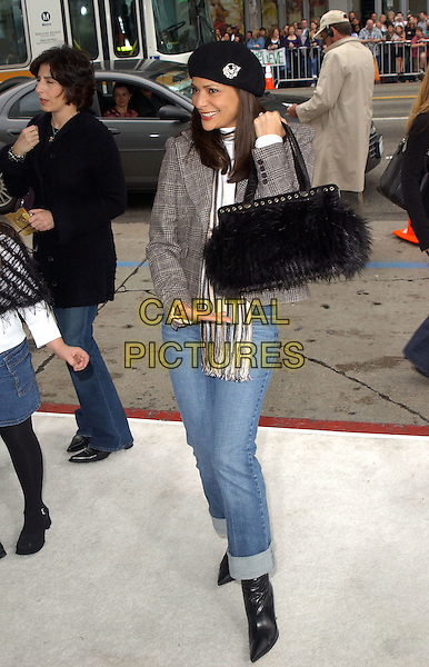 """CONSTANCE MARIE.The Warner Brothers' World Premiere of """"Polar Express"""" held at The Graumann's Chinese Theatre in Hollywood, California on .November 7th, 2004.full length, furry balck bag, posing, purse, hat, brooch.www.capitalpictures.com.sales@capitalpictures.com.©Debbie Van Story/Capital Pictures"""