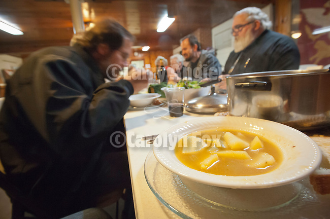 A lenten meal of potato soup and salad enjoyed during a visit by Miloje Milinkovic, Fathers Blasko Paraklis and Budimir Andjelic to honor St. Sava Church and pay tribute to the souls of the departed.