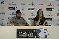 Shane Lowry (IRL) in media interview during previews ahead of the DP World Championship, Earth Course, Jumeirah Golf Estates, Dubai, UAE. 19/11/2019<br /> Picture: Golffile | Phil INGLIS<br /> <br /> <br /> All photo usage must carry mandatory copyright credit (© Golffile | Phil INGLIS)