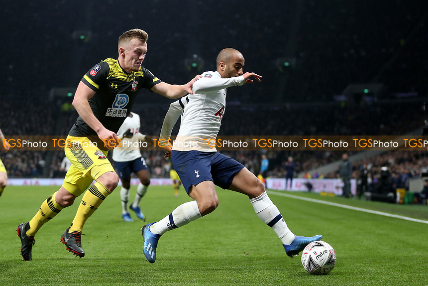 James Ward-Prowse of Southampton and Lucas of Tottenham Hotspur during Tottenham Hotspur vs Southampton, Emirates FA Cup Football at Tottenham Hotspur Stadium on 5th February 2020