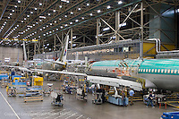 Boeing 737 final assembly line at Boeing Renton Plant in Renton Washington