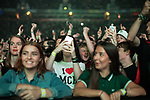 © Joel Goodman - 07973 332324 . No Editorial syndictaion permitted . 09/09/2017. Manchester , UK . The crowd cheer Rick Astley . We Are Manchester reopening charity concert at the Manchester Arena with performances by Manchester artists including  Noel Gallagher , Courteeners , Blossoms and the poet Tony Walsh . The Arena has been closed since 22nd May 2017 , after Salman Abedi's terrorist attack at an Ariana Grande concert killed 22 and injured 250 . Money raised will go towards the victims of the bombing . Photo credit : Joel Goodman