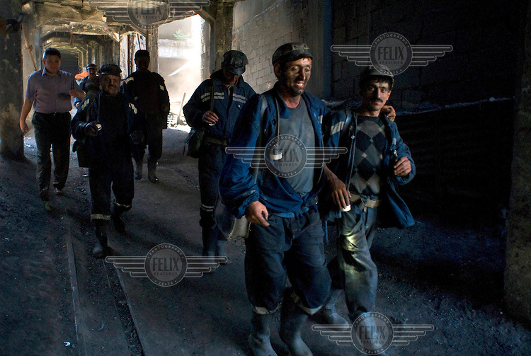 Coal miners on the surface, at Petrila colliery, after finishing their shift underground.