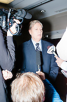 Republican presidential candidate and South Carolina senator Lindsey Graham speaks to the media after speaking at a town hall at the offices of McLane Middleton Law Firm in Manchester, New Hampshire. Arizona senator and former Republican presidential nominee John McCain also spoke at the event and joined Graham for other events throughout the state over the following two days.