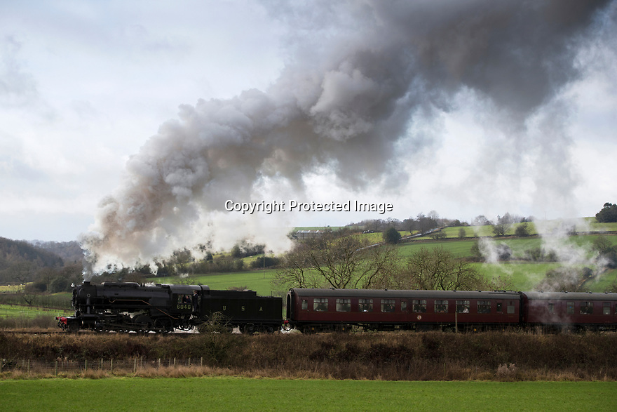 01/01/19<br /> <br /> The first steam train of 2019 makes its way up the steep incline towards Ipstones Station along the Churnet Valley Railway high up on the Staffordshire moorlands near Leek<br /> <br /> All Rights Reserved, F Stop Press Ltd. (0)1335 344240 +44 (0)7765 242650  www.fstoppress.com rod@fstoppress.com