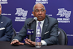 Tubby Smith answers questions at a press conference after having been introduced as the new men's basketball head coach at High Point University at the Hayworth Fine Arts Center on the campus of High Point University on March 27, 2018 in High Point, North Carolina.  (Brian Westerholt/Sports On Film)