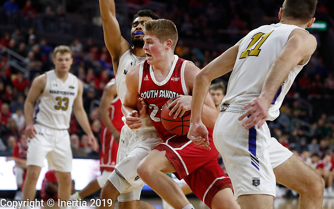 SIOUX FALLS, SD - MARCH 10: Tyler Peterson #22 from South Dakota pushes past Kason Harrell #32 at the 2019 Summit League Basketball Tournament at the Denny Sanford Premier Center in Sioux Falls. (Photo by Dick Carlson/Inertia)